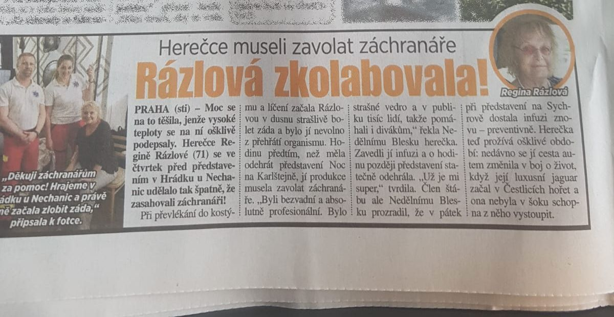 Zdravotnické zajištění muzikálu Noc na Karlštejně - Hrádek u Nechanic